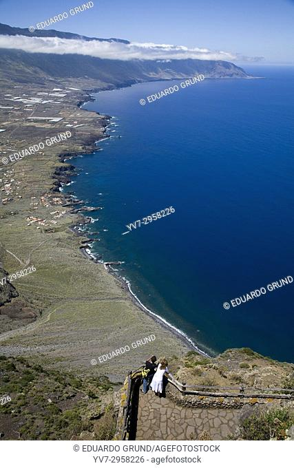 View of El Golfo from the Mirador de la Peña Restaurant, designed by Cesar Manrique. El Hierro, Canary Islands, Spain