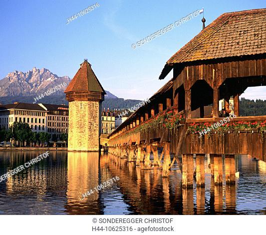 10625316, chapel bridge, traveling, tourism, landmark, bridge, town, city, Lucerne, Switzerland, Europe, morning mood, Pilatus