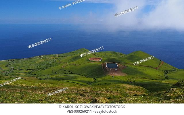 Two sides of Corvo Island, Azores, Portugal
