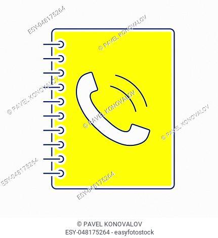 Phone book icon. Thin line design. Vector illustration