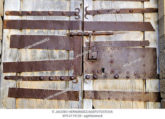 Detail of the door of the romanesque church of Calatañazor. Soria province. Castilla y León. Spain