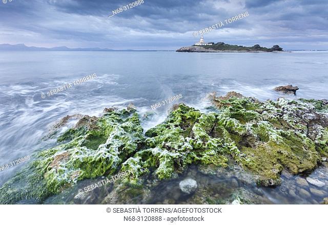 Islet and lighthouse of Alcanada (Aucanada), Alcudia, Majorca, Balearic Islands, Spain