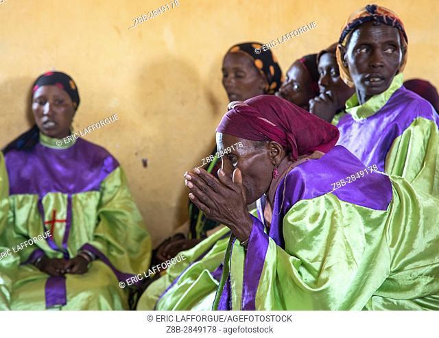 Borana women during sunday church service, Oromia, Yabelo, Ethiopia