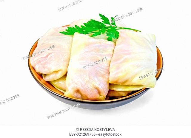 Cabbage stuffed with parsley in a dish