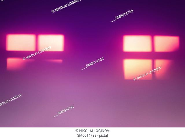 Two pink windows silhouettes bokeh background hd