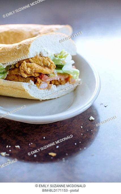 Po-boy sandwich on plate