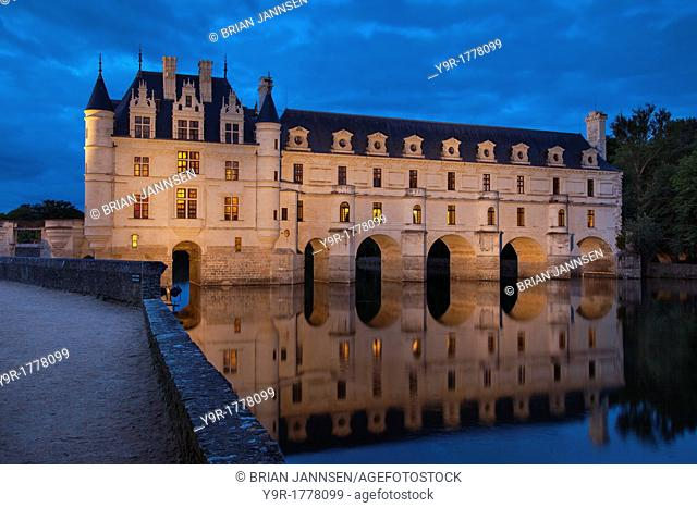 Twilight over Chateau Chenonceau in the Loire Valley, Centre France