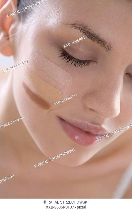 woman with make up on face