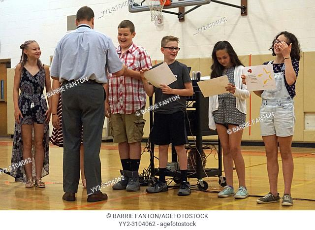 Middle School Students Receiving Awards, Wellsville, New York, USA
