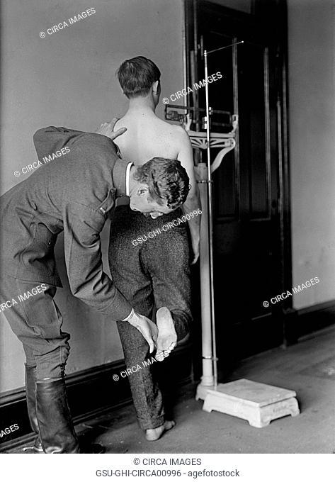 U.S. Army Physical Examination, Rear View, circa 1917