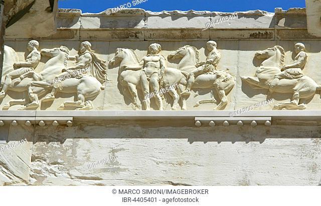 Freize of Parthenon temple, close-up, Acropolis, Athens, Greece