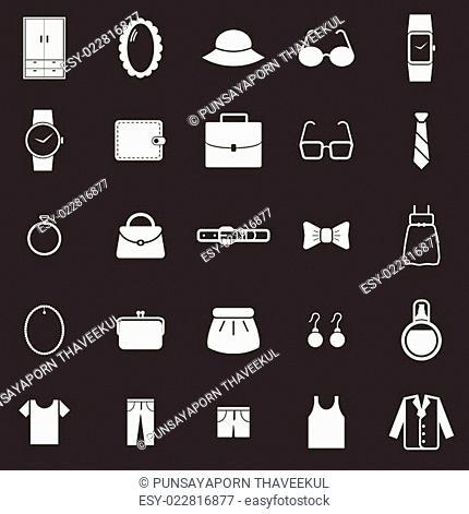 Dressing icons on black background