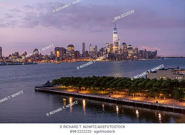 A sunrise view of Manhattan from room 1010 at the W Hotel in Hoboken ,NJ