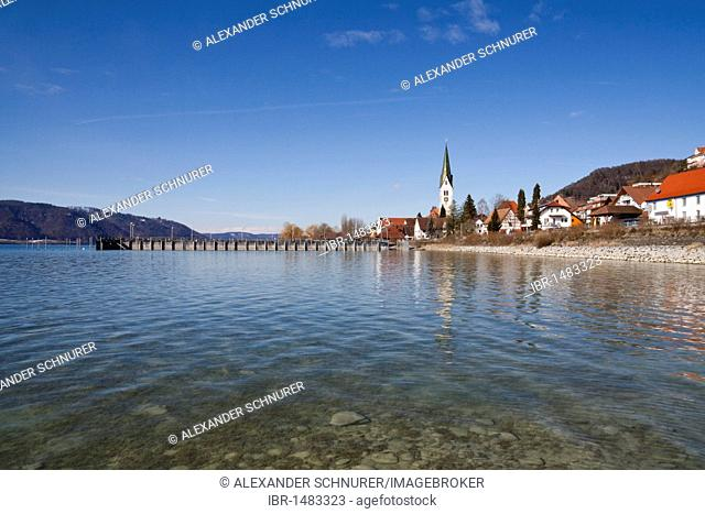 Sipplingen on Lake Constance with its historic town center, the parish church of St. Martin and the harbor seen from the water, Ueberlingersee lake