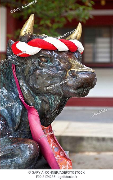 Good luck bull statue when rubbed said to bring success in studies or examinations in Dazaifu Tenmangu Shrine, Fukuoka, Japan