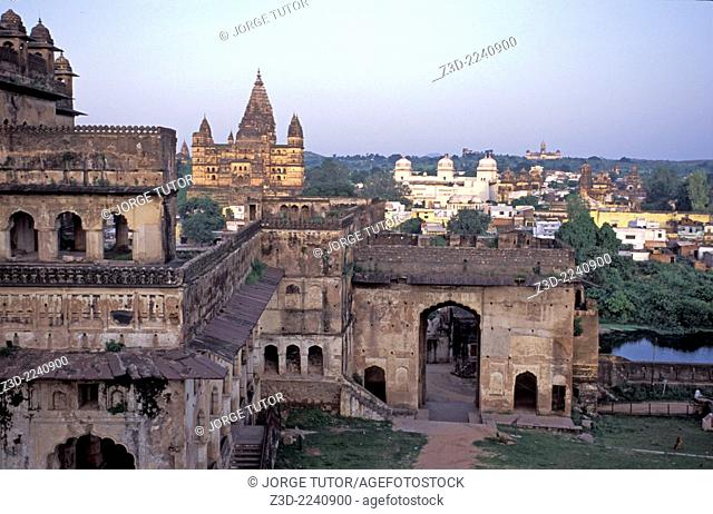 Orchha view from Sheesh Mahal Palace Orchha Madhya Pradesh India