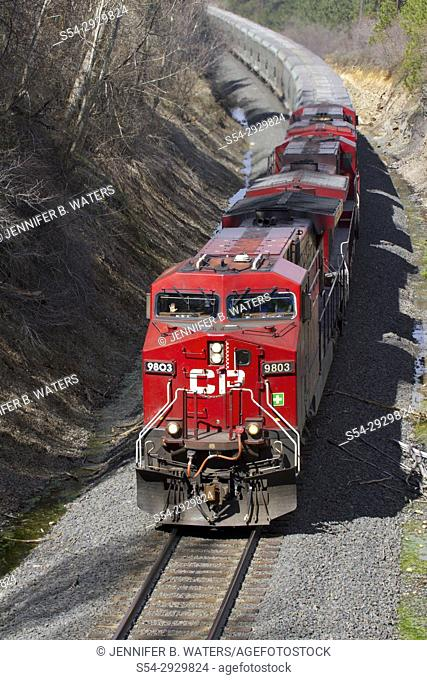 Canadian Pacific power on BNSF train in Spokane, Washington, USA