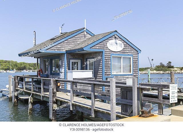 The harbormaster's building on the marina in Oak Bluffs Harbor in Oak Bluffs, Massachusetts on Martha's Vineyard