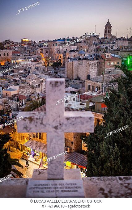 Aerial view of old City, Jerusalem, Israel