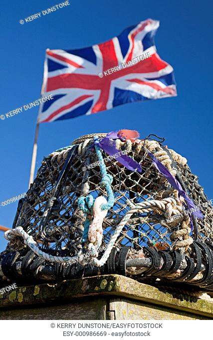 England Devon Beesands Lobster pot and Union Jack flag