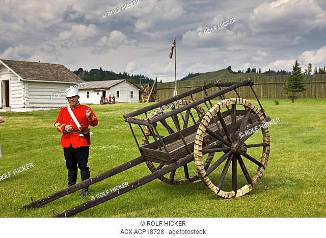 Reenactment with Red River cart at Fort Walsh National Historic Site, Cypress Hills Interprovincial Park, Saskatchewan, Canada