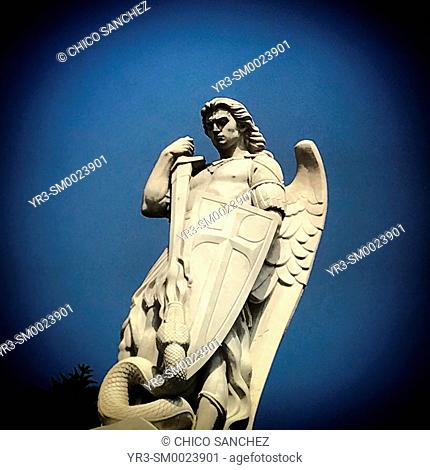 An sculpture of Saint Michael Archangel defeating the Old Serpent decorates the Our Lady of Guadalupe Basilica in Mexico City, Mexico