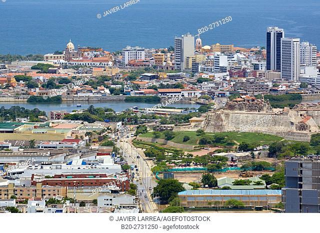 View from the Cerro de la Popa, Cartagena de Indias, Bolivar, Colombia, South America