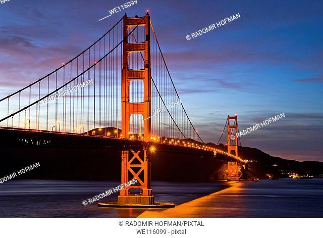 The Golden Gate Bridge after sunset, San Francisco, California, USA