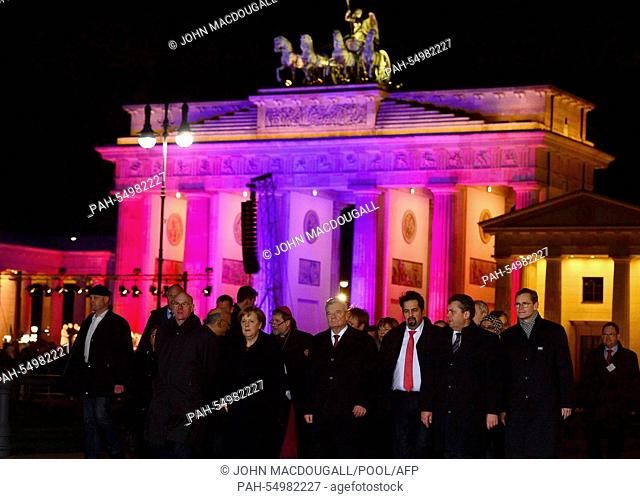 (L-R) President of Bundestag Norbert Lammer, German Chancellor Angela Merkel, German President Joachim Gauck, the chairman of the Central Council of Muslims in...