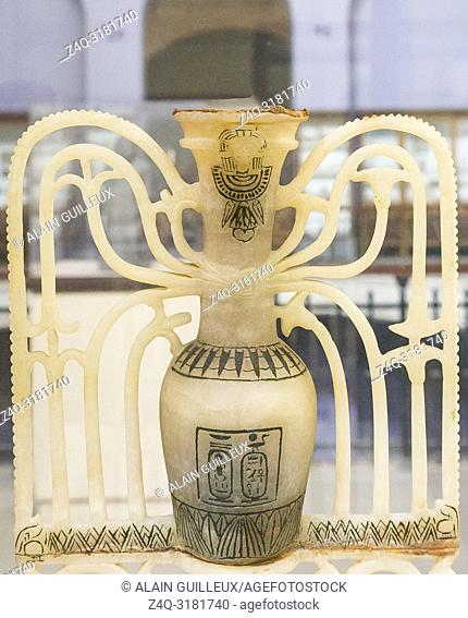 Egypt, Cairo, Egyptian Museum, Tutankhamon alabaster, from his tomb in Luxor : Uppert part of an ornamental unguent vase