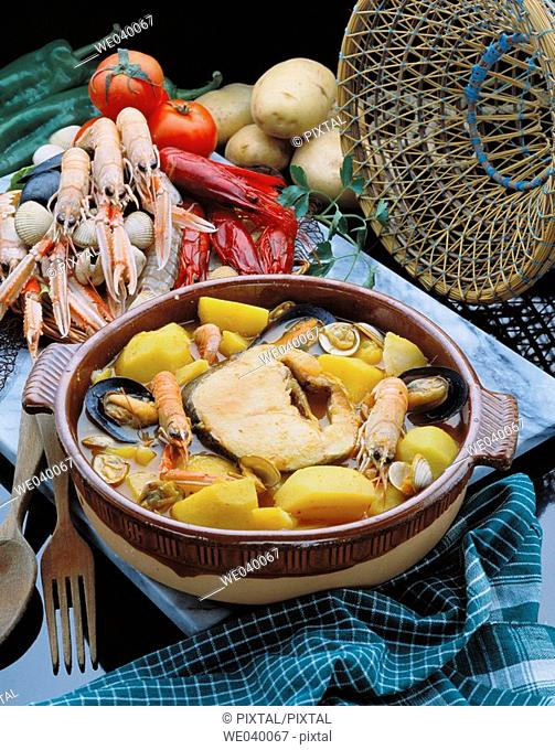 Suquet de peix, typical fish dish
