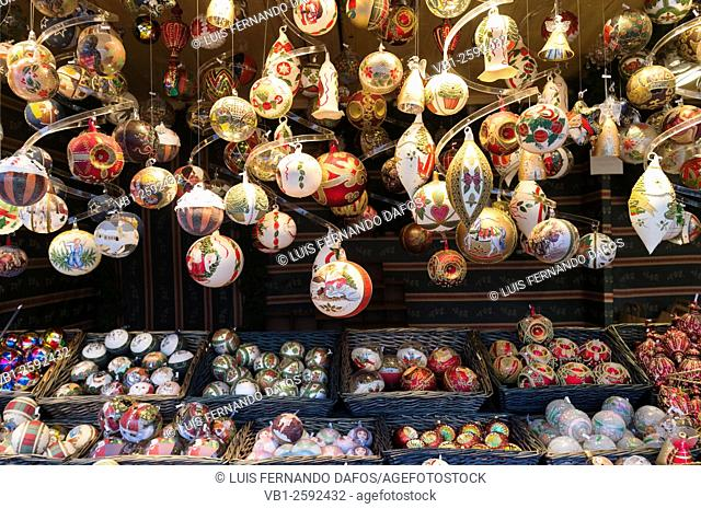 Christmas ornaments at a Christmas market in Vienna, Austria
