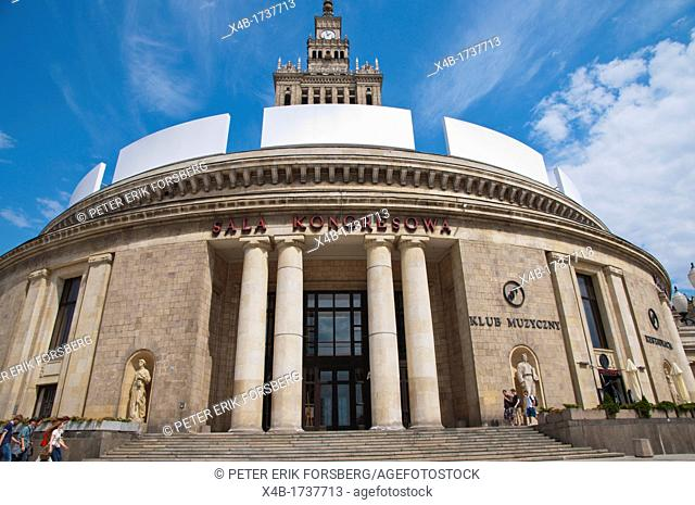 Sala Kongresowa the Kongress auditorium exterior in Palace of Culture and Science building Srodmiescie the central Warsaw Poland Europe