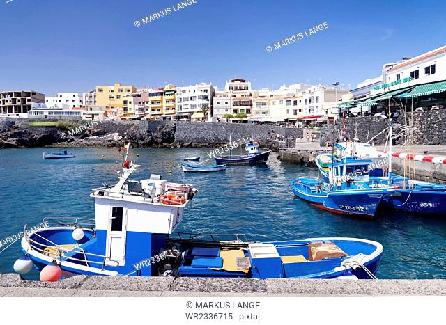 Fishing boats at the port, Los Abrigos, Tenerife, Canary Islands, Spain, Atlantic, Europe