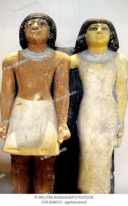 Meresankh and his family carved statue at Egyptian Museum, Cairo. Egypt