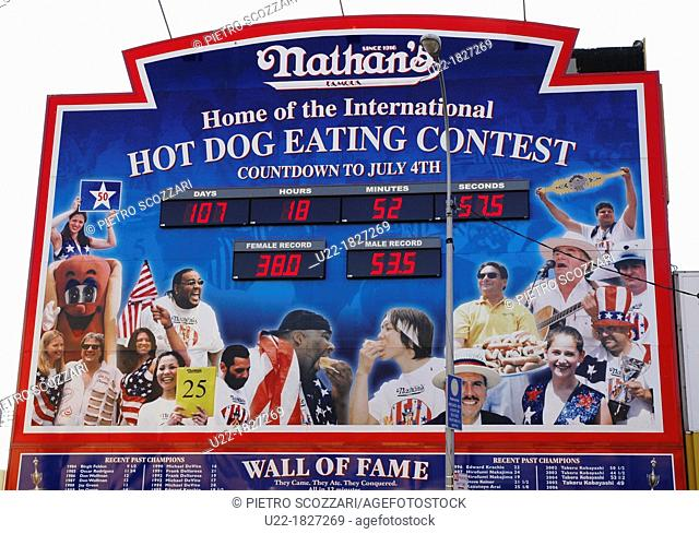 New York City, sign of the annual Nathan's hot-dog eating contest at Coney Island, Brooklyn