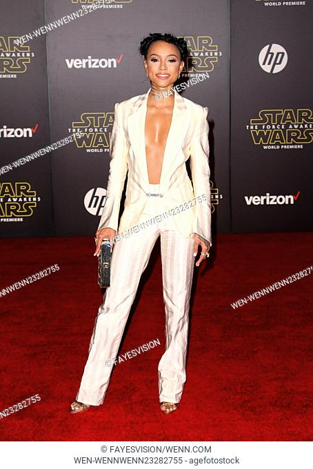 """Premiere Of Walt Disney Pictures And Lucasfilm's """"""""Star Wars: The Force Awakens"""""""" Featuring: Karrueche Tran Where: Hollywood, California"""