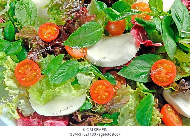 Lettuce, tomato, and basil salad