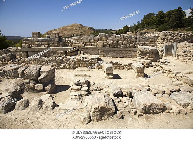 The west wing, Festos, archeological area, Crete island, Greece, Europe