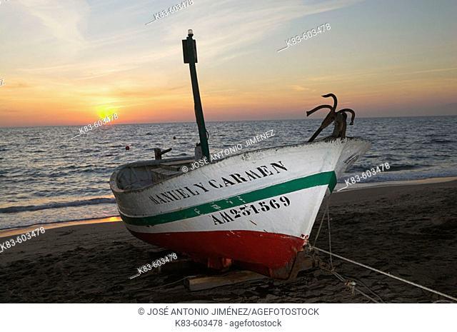Fishing boat. Cabo de Gata - Nijar Natural Park. Almeria Province. Andalucia. Spain