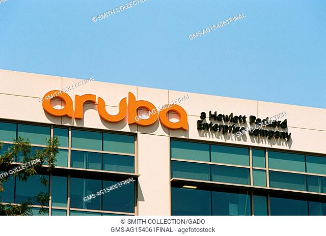 Signage with logo at the Silicon Valley headquarters of Hewlett Packard (HP) enterprise company Aruba Networks, Santa Clara, California, August 17, 2017