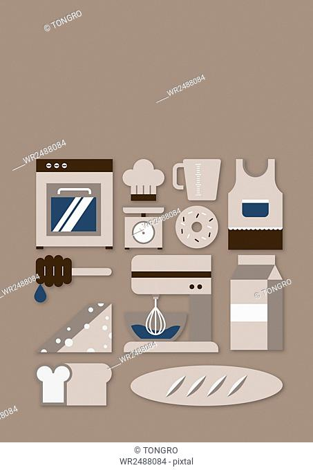 Set of various icons related to bakery