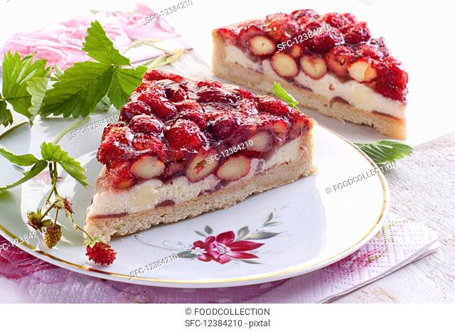A slices wild strawberry tart