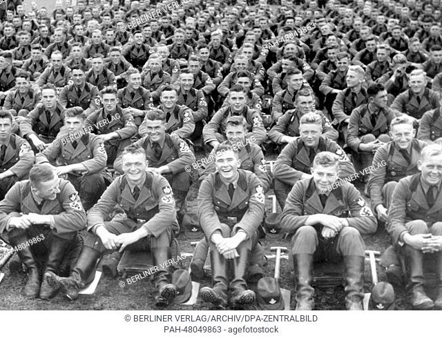 Nuremberg Rally 1938 in Nuremberg, Germany - Roll call of the Reich Labour Service (RAD) on Zeppelin Field at the Nazi party rally grounds