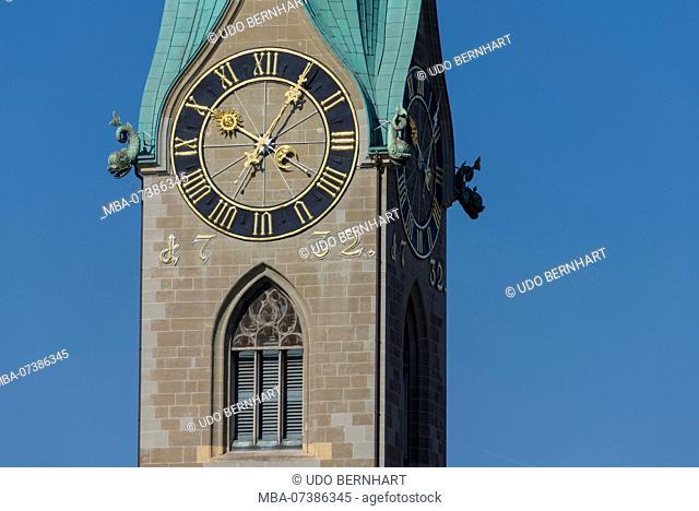 Church tower of the Fraumünster, old town, Zurich, Canton of Zurich, Switzerland