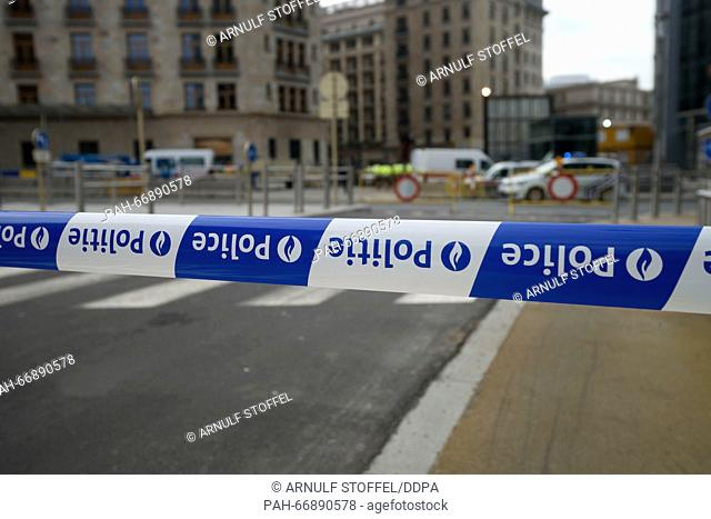 A police cordon inBrussels, Belgium, 22 March 2016. At least 26 people have been killed in a series of terror attacks on 22.03