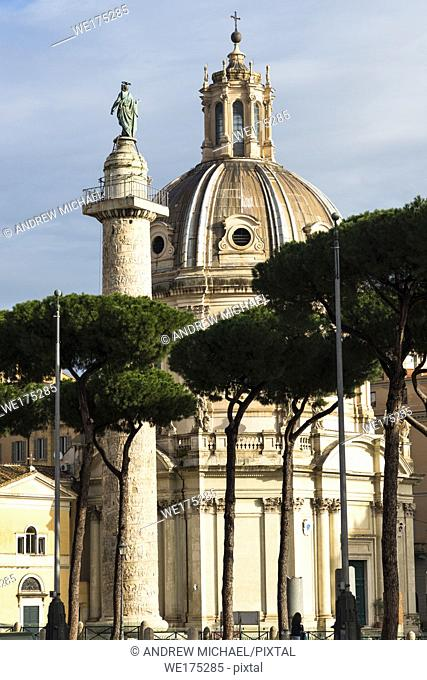 Trajan's Column and Church of the Most Holy Name of Mary (Santissimo Nome di Maria al Foro Traiano). Rome. Lazio. Italy