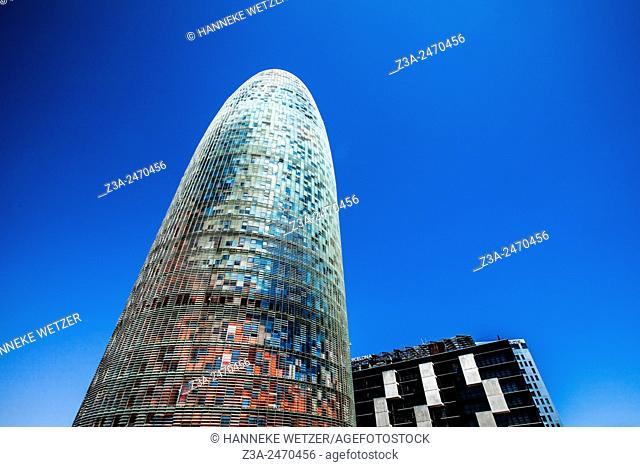 Torre (Tower) Agbar Skyscraper designed by Jean Nouvel, Plaça de les Glòries Catalanes
