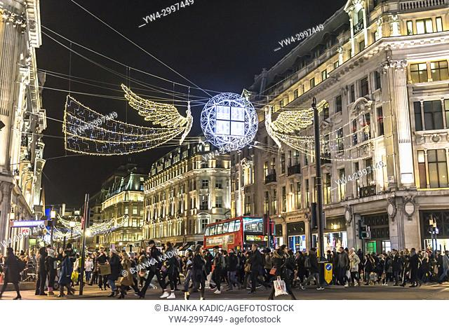 Christmas decorations in Oxford Street in central London, England, UK