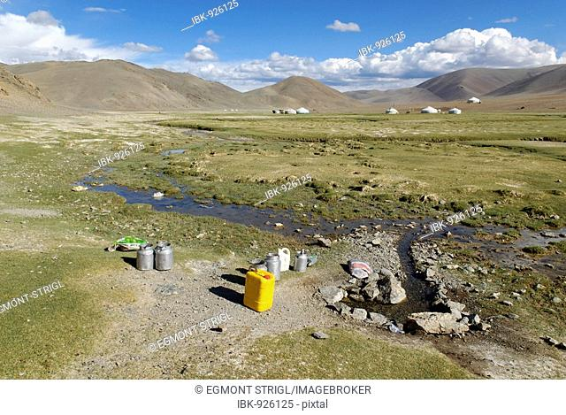 Spring with drinking water for the Nomads in the steppe, Aimak Bayan Ulgi, Altai, Mongolia, Asia